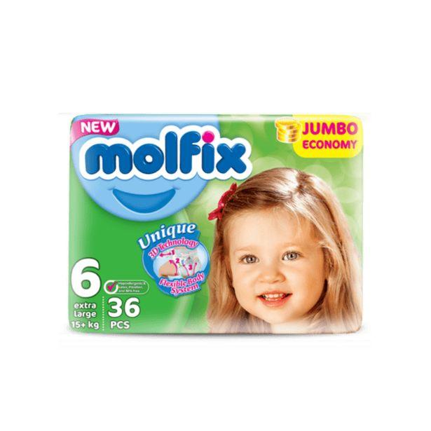 Оферта на Бебешки пелени MOLFIX XL Jumbo 15+ кг 36 бр. за 20,89 лв.