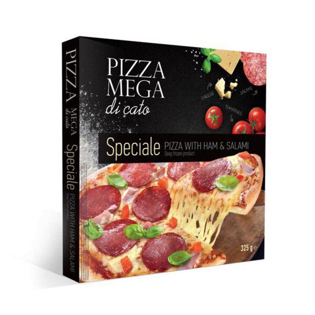 Оферта на Замразена пица MEGA DI CATO шунка,салам 325гр за 2,99 лв.