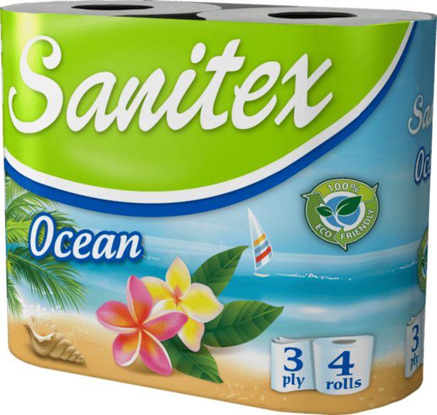 Оферта на Тоалетна хартия SANITEX Ocean 3 пласта 4 броя за 1,69 лв.