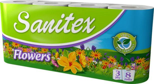 Оферта на Тоалетна хартия SANITEX Flowers 8 броя за 3,49 лв.