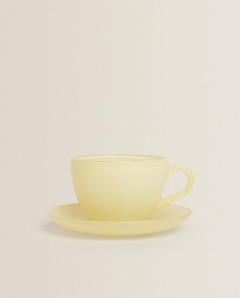 Оферта на Стъклена Чашка За Кафе С Чинийка В Пастелен Цвят за 12,95 лв.
